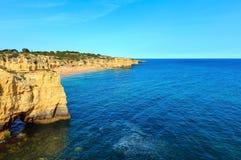 Atlantic rocky coastline Algarve, Portugal. Stock Photos