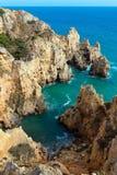 Atlantic rocky coastline (Ponta da Piedade, Lagos, Algarve, Port Royalty Free Stock Photo