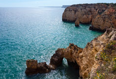 Atlantic rocky coastline (Ponta da Piedade, Lagos, Algarve, Port Royalty Free Stock Photos