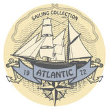 Atlantic Sailing stamp Royalty Free Stock Photo