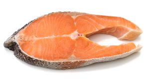 Atlantic Salmon. A cutlet of salmon ready for a steak Stock Image