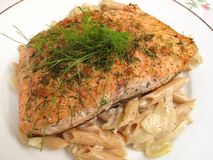 Atlantic Salmon Fillet and Pasta Royalty Free Stock Photo
