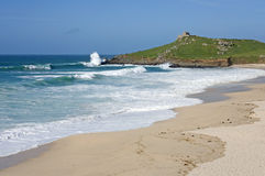 Atlantic sea breaks on Porthmeor beach St. Ives. Stock Photography