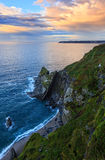 Atlantic spring evening coastline landscape Spain. Stock Image