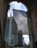 Atlantic Station through Arch. Image of the shopping and business district, Atlantic Station, though an monument arch. Located in Atlanta, Georgia Stock Image