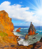 Atlantic storms. Arid eastern tip of the island of Madeira. Atlantic storms.  Colorful pinnacles lit sunset Stock Photos