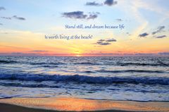 Atlantic Sunrise With Quote Stock Images