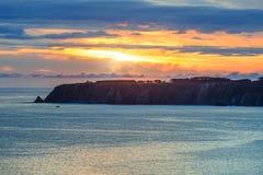 Atlantic sunset coastline landscape Spain. Royalty Free Stock Photos