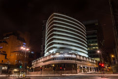 The Atlantic Tower Hotel by night. ENGLAND, LIVERPOOL - 15 NOV 2015: The Atlantic Tower Hotel by night stock photos