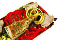 Atlantic tuna served on plate Stock Image