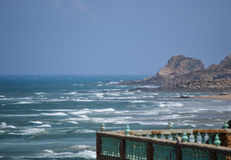 The Atlantic. View from a balcony over the Atlantic, a windy day in Morocco royalty free stock photos