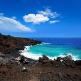 Atlantic volcanic black coast in la Palma Royalty Free Stock Image