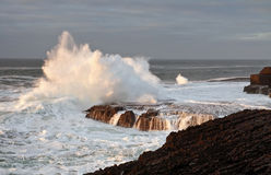 Atlantic wave explosion. Coast line of Ireland - Doolin Royalty Free Stock Image