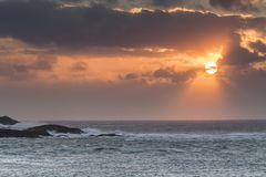 Atlantic waves at Mealista Coast on the Isle of Lewis in Scotland. Royalty Free Stock Images