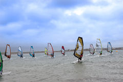 Atlantic Wind Surfers Racing In The Heavy Stormy Winds Royalty Free Stock Photo