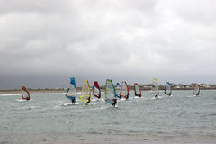 Atlantic wind surfers racing in the storm winds Royalty Free Stock Images