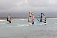 Atlantic wind surfers racing in the storms Stock Images