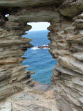 Atlantic window view. View of Atlantic ocean through old stone castle window stock image