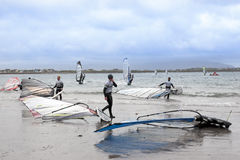 Atlantic windsurfers getting ready to race and surf Stock Images