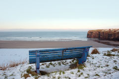 Atlantic Winter Bench View Of Beach And Cliffs Royalty Free Stock Image