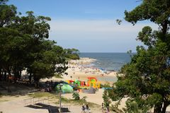 Atlantida beach landscape in Canelones, Uruguay. ATLANTIDA, URUGUAY - FEBRUARY 25, 2017: A mid-day seascape view of the Atlantida beach in Canelones, Uruguay on Stock Image