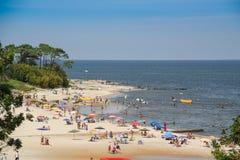 Atlantida beach landscape in Canelones, Uruguay. ATLANTIDA, URUGUAY - FEBRUARY 25, 2017: A mid-day seascape view of the Atlantida beach in Canelones, Uruguay on Stock Images
