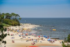 Atlantida plaży krajobraz w Canelones, Urugwaj Obrazy Stock