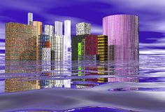 ATLANTIS. This is an image of the water city of Atlantis, designed with no logos or trademarks in the buildings Stock Photography