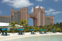Atlantis Bahamas Paradise Island. A serene view of the Atlantis towers from across the dolphin pool stock photo