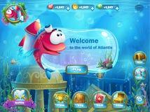 Atlantis fördärvar med fiskraket - menyGUI stock illustrationer