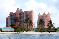 Atlantis Hotel Bahamas. Royal Tower at Atlantis Hotel on Paradise Island in Bahamas Stock Photo