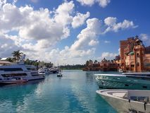 Atlantis Marina, Paradise Island. Bahamas - 17 December 2017. View of the luxury super yachts marina next to the famose royalty free stock images