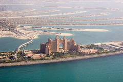 The Atlantis Palm helicopter view Stock Images