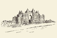 Atlantis Palm hotel Dubai United Emirates drawn Stock Image