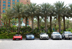 The Atlantis the Palm hotel and limousines Stock Image