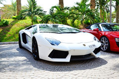 The Atlantis the Palm hotel and luxury sport cars Royalty Free Stock Image
