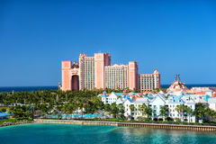 The Atlantis Paradise Island resort, located in the Bahamas. NASSAU, BAHAMAS - March 9. 2016: The Atlantis Paradise Island resort, located in the Bahamas . The royalty free stock photo