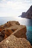Atlantis Quarry. Ibiza at Turquoise Seaside Royalty Free Stock Image