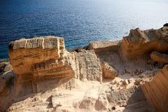 Atlantis Quarry Top View. Atlantis Quarry against Blue Sea Stock Image