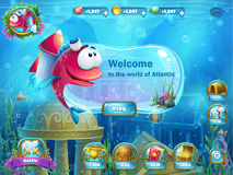 Atlantis ruins with fish rocket - menu GUI. Atlantis ruins playing field - vector illustration screen to the computer game. Bright background image to create Royalty Free Stock Images
