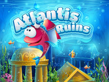 Atlantis ruins funny fish - vector illustration boot screen Royalty Free Stock Photo