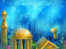 Atlantis. Seamless submerged underwater city, the gold ancient Stock Photography