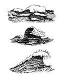 Atlantische Flutwellen Alte gravierte Hand gezeichnete Aufkleber der Weinlese Marine- und See- oder des Meeres, Ozean Hintergrund lizenzfreie abbildung