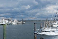 Atlantische Hooglandenjachthaven met de Horizon van Manhattan royalty-vrije stock foto