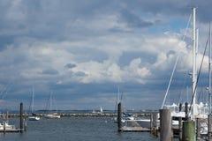 Atlantische Hooglandenjachthaven met de Horizon van Manhattan royalty-vrije stock fotografie