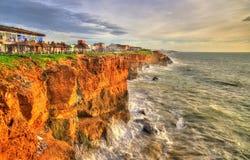 Atlantische kust bij Safi-stad in Marokko Royalty-vrije Stock Foto's