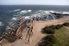Atlantische kustlijn, La Paloma, Uruguay Stock Foto