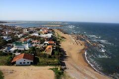 Atlantische kustlijn, La Paloma, Uruguay Royalty-vrije Stock Afbeeldingen