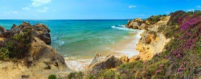 Atlantisk blomstra kustsikt Algarve, Portugal Arkivbilder