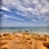 Atlantisk strand nära Cadiz, Spanien Arkivfoton